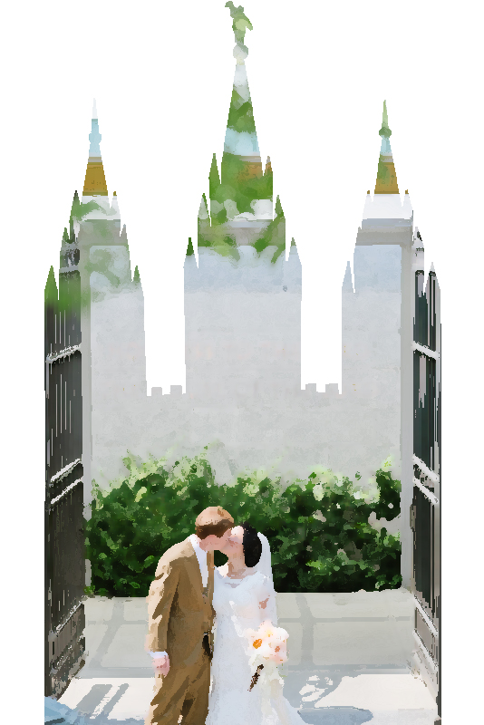 Salt Lake Temple Silhouette (watercolor)