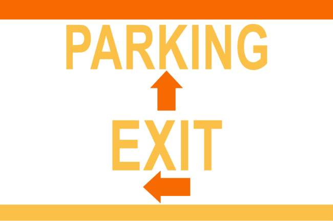 "12x18"" Corrugated Plastic Lawn Sign (Parking (straight) Exit (left)"