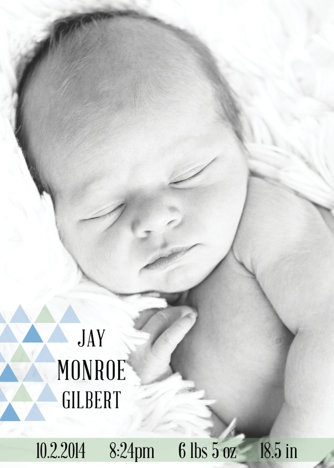 Jay Monroe Gilbert Birth Announcement 20142