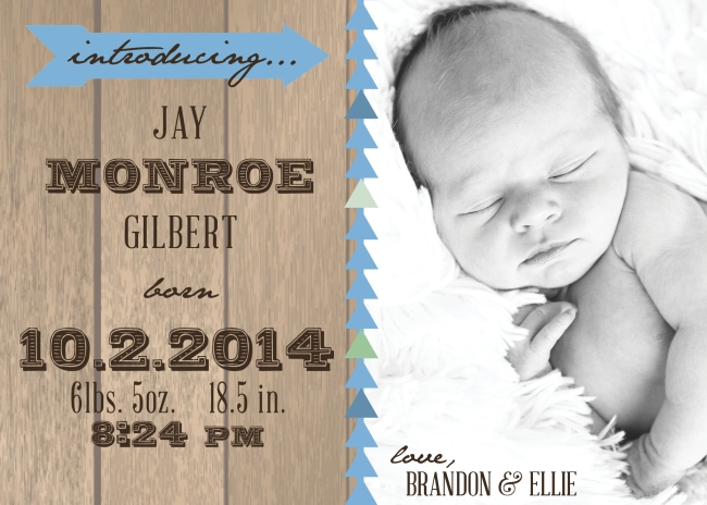 Jay Monroe Gilbert Birth Announcement 20145