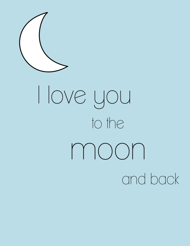 I Love you to the Moon (BLUE) {ASF&D Typography}